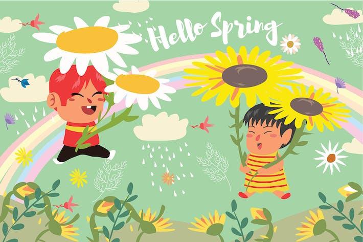 Hello Spring - Vector Illustration