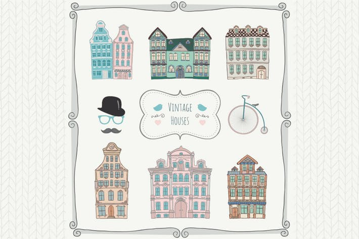 Thumbnail for Vintage Old Styled Hand Drawn Houses Icons.