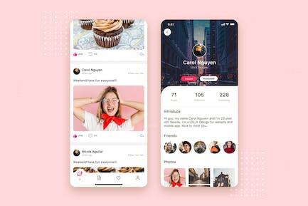 Concept de l'interface utilisateur mobile social