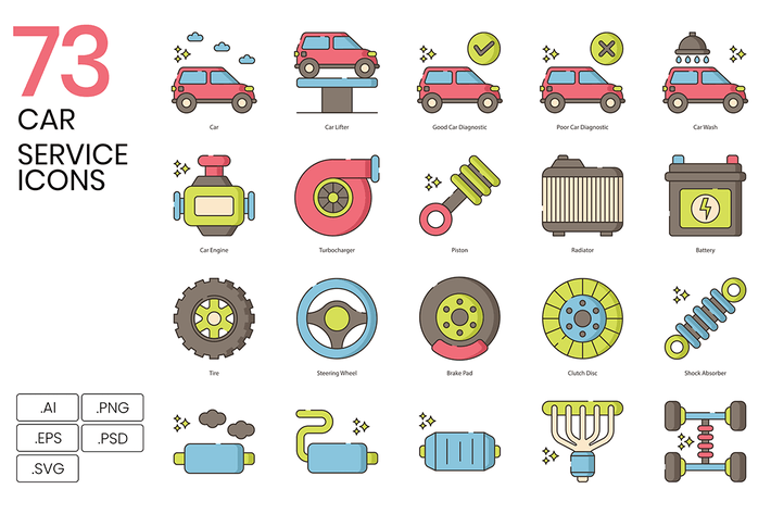 Thumbnail for 73 Car Service Color Line Icons