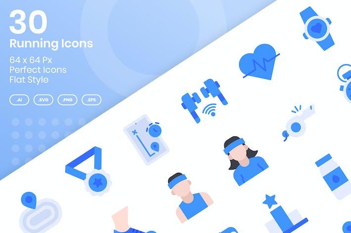 Thumbnail for 30 Running Icons Set - Flat