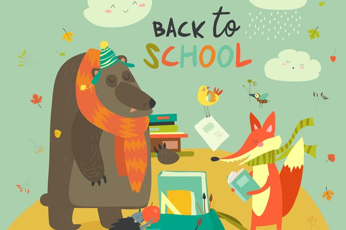 Thumbnail for Back to school illustaration with cute woodland