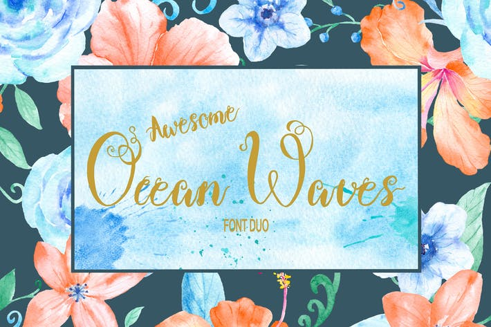 Thumbnail for Ocean Waves Brush Font Duo