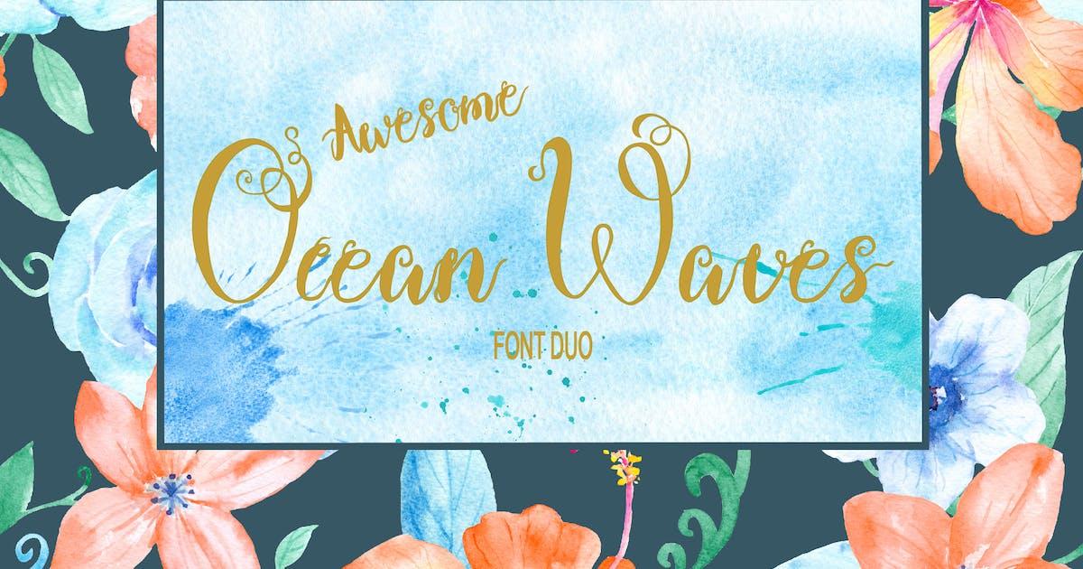 Ocean Waves Brush Font Duo by cornercroft