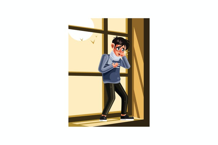 The Sick man is Coughing Graphics Illustration