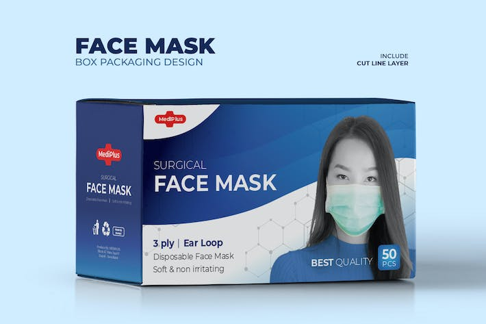 Thumbnail for Blue Face Mask Box Packaging Template