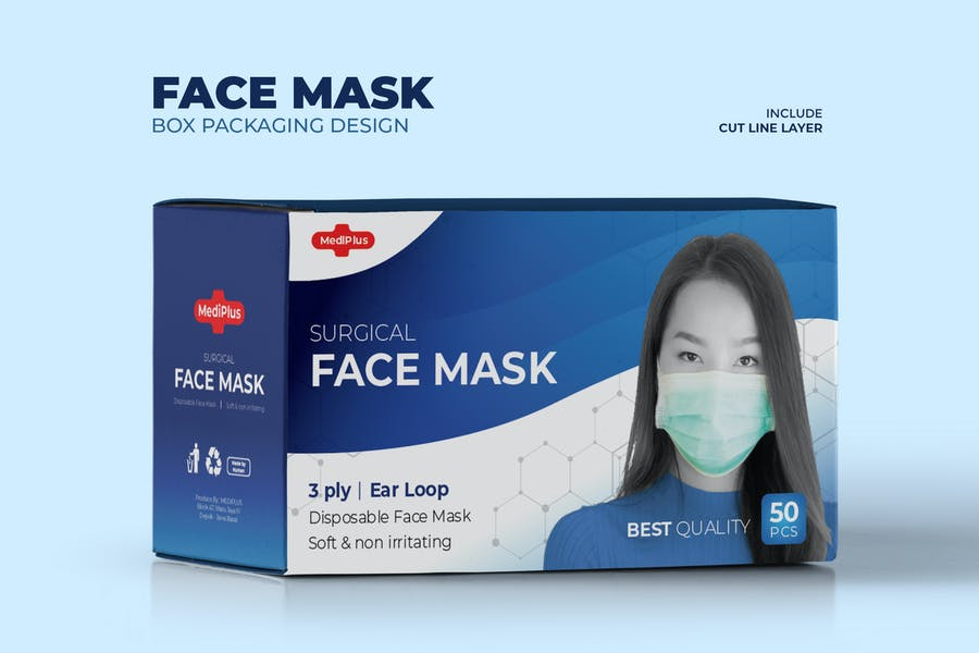 Blue Face Mask Box Packaging Template