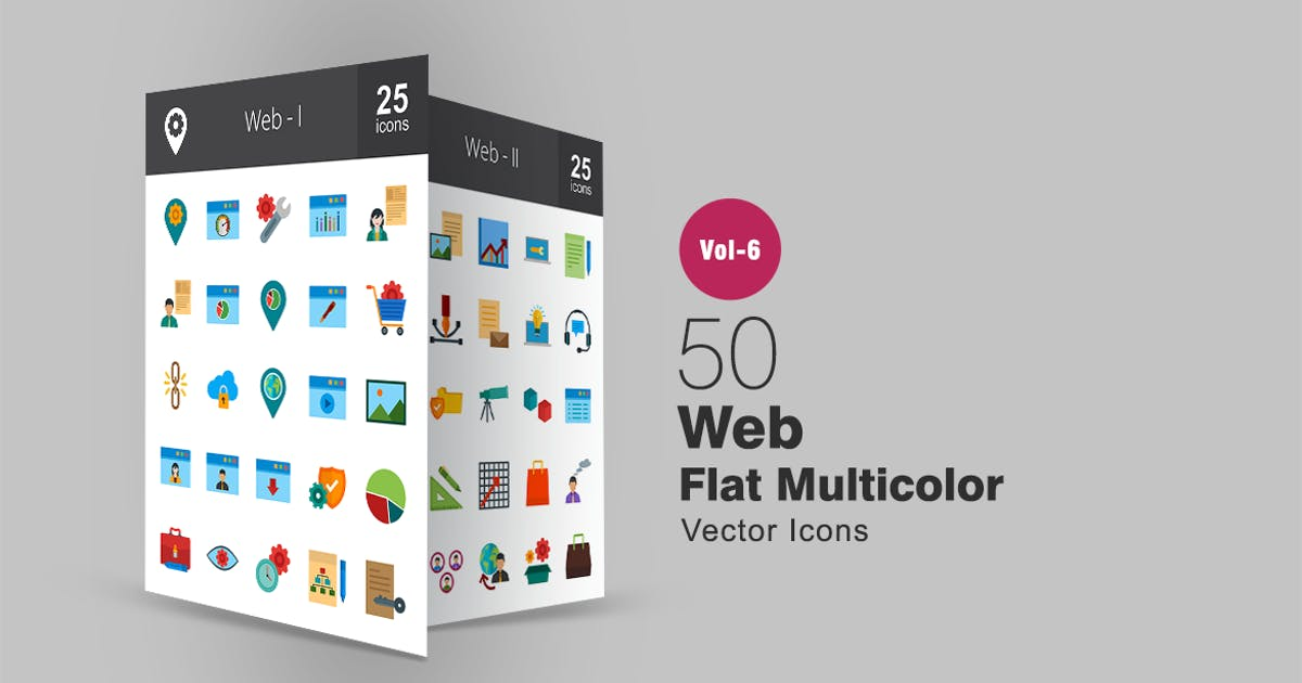 Download 50 Web Flat Multicolor Icons by IconBunny