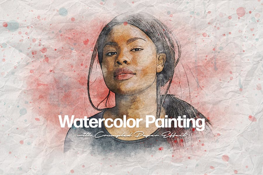 Crumpled Watercolor Art Photo Effect