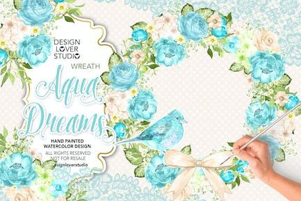 Watercolor AQUA BLUE Wreath