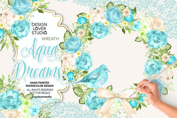 Thumbnail for Watercolor AQUA BLUE Wreath