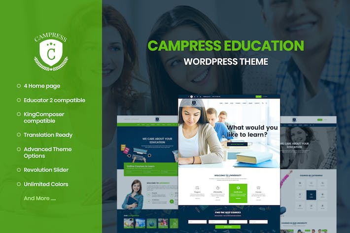 Cover Image For Campress - Education, Courses WordPress Theme