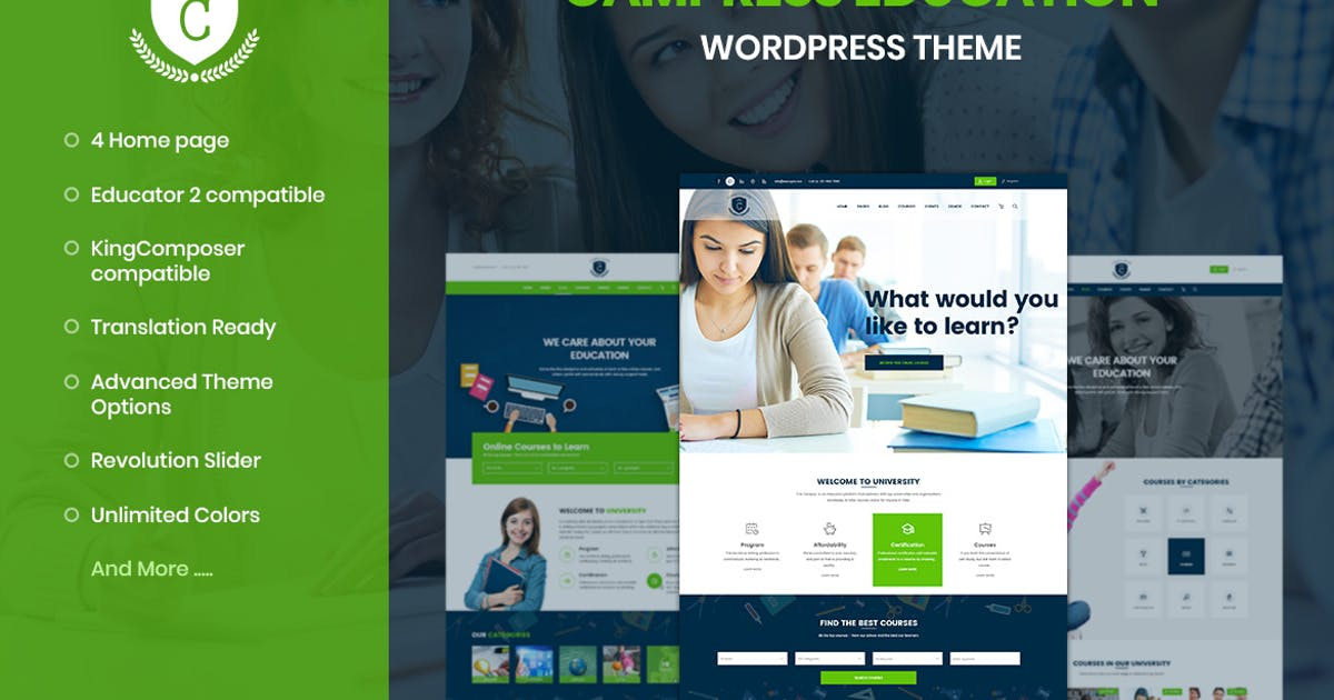 Download Campress - Education, Courses WordPress Theme by ApusWP