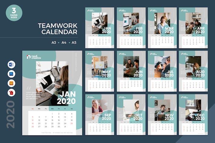 Thumbnail for Teamwork Calendar 2020 Calendar - AI, DOC, PSD