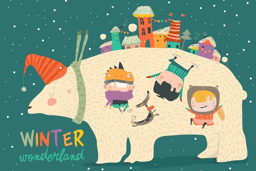 Cute kids celebrating Christmas with big polar bea