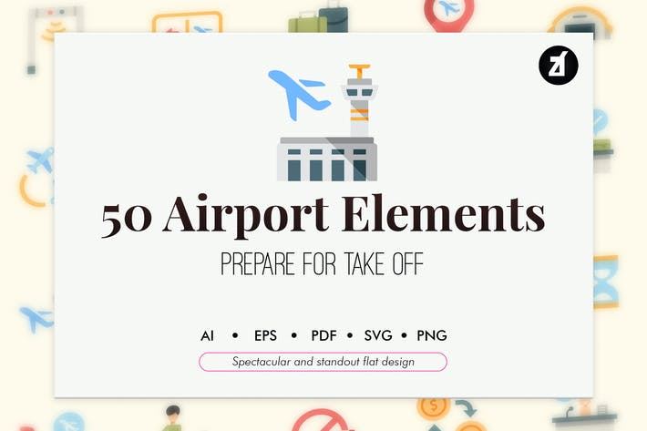 Thumbnail for 50 Airport elements in flat design