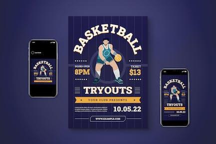 Basketball Tryout Flyer Set