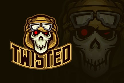 Evil Twisted Pilot Skull Esport Logo