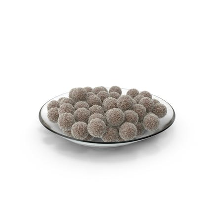 Plate with Chocolate Balls with Coconuts