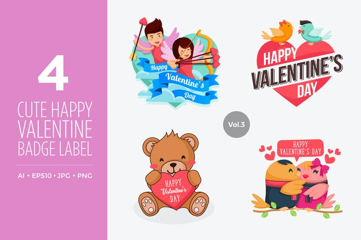 Thumbnail for Cute Happy Valentine Vector Illustration Set Vol.3
