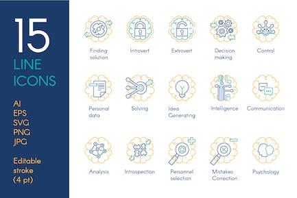 Brain Activity Icons Set