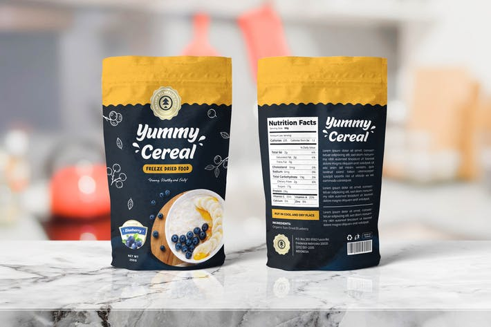 Thumbnail for Cereal Food Pounch Bag Packaging Template