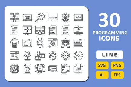30 Programming Icons - Line
