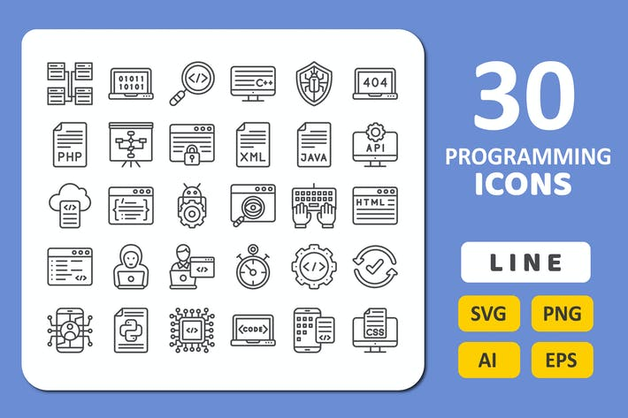 30 Programming Icons - Line