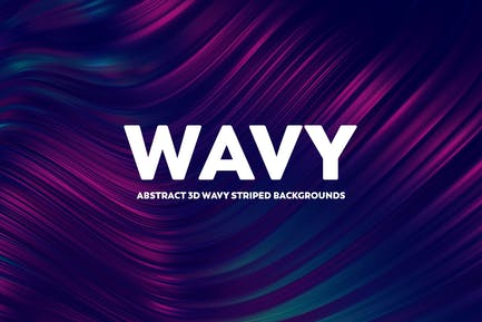 Abstract 3D Wavy Striped Backgrounds-Blue & Pink