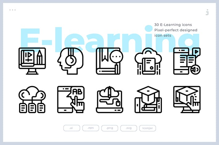 Thumbnail for 30  E-Learning Icons