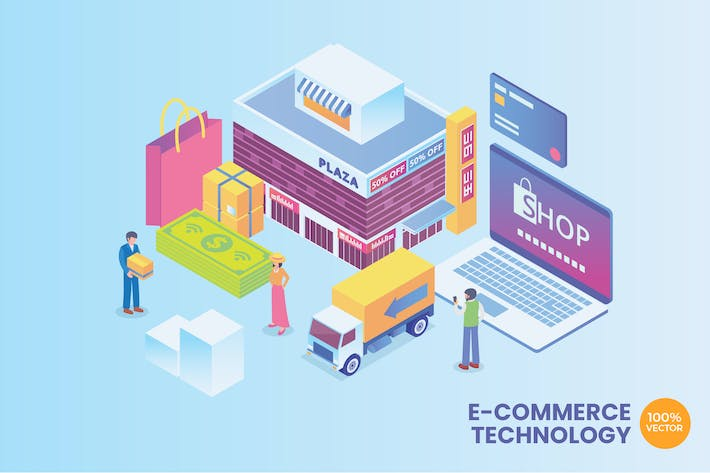 Thumbnail for Isometric E-Commerce Technology Vector Concept