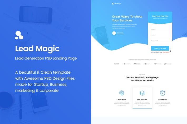 Thumbnail for LeadMagic - Lead Generation PSD Landing Page