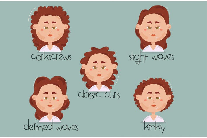 Curly Hair Types Illustration