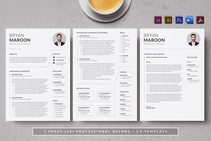 Cover Image For Resume & CV Minimalist - Antemp
