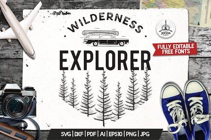 Wilderness Logo, Retro Camping Badge Template