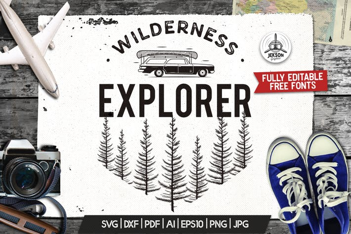 Thumbnail for Wilderness Logo, Retro Camping Badge Template