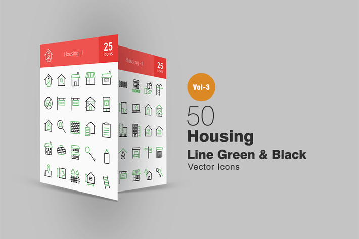 Thumbnail for 50 Housing Line Green & Black Icons
