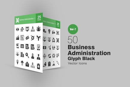 50 Íconos de glifo de administración Negocios