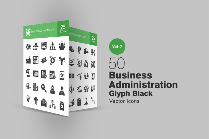 Thumbnail for 50 Business Administration Glyph Icons