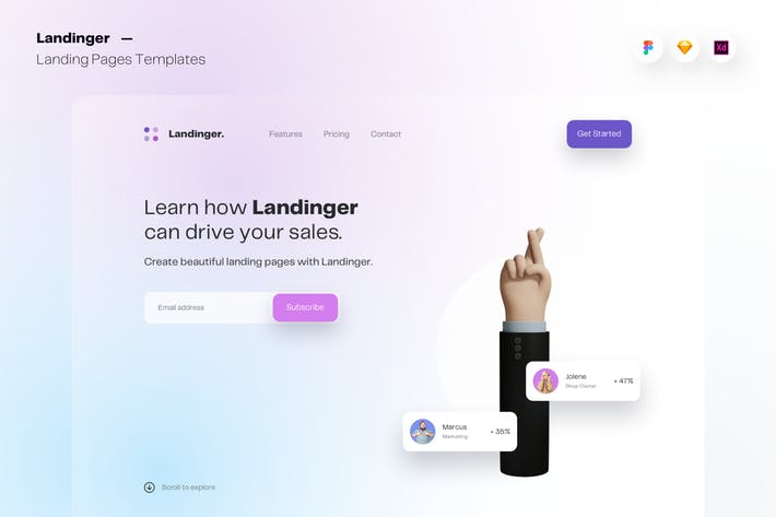 Thumbnail for Landinger - Web Landing Pages UI Templates