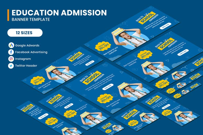 Thumbnail for Education Admission Google Adwords Banner Template