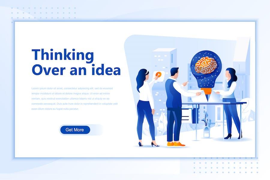 Thinking Idea Flat Landing Page Header