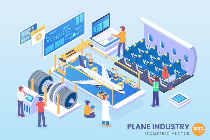 Thumbnail for Isometric Plane Manufacturing Industry Vector