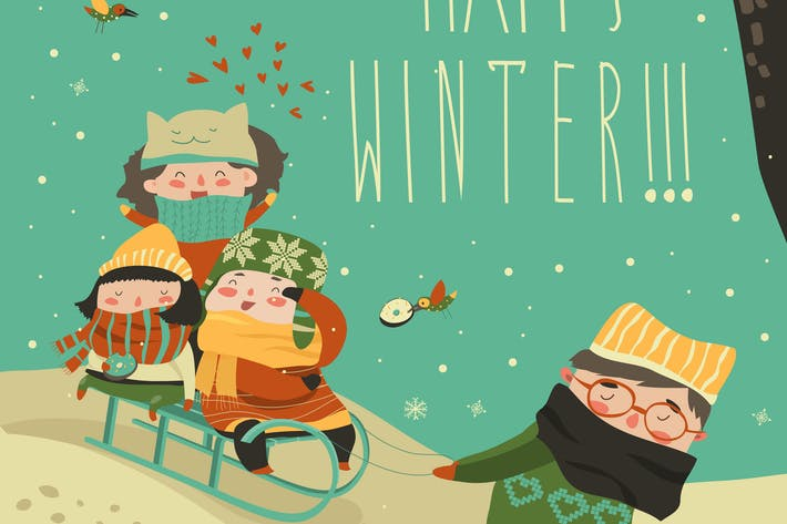 Thumbnail for Funny children sledding down the hills