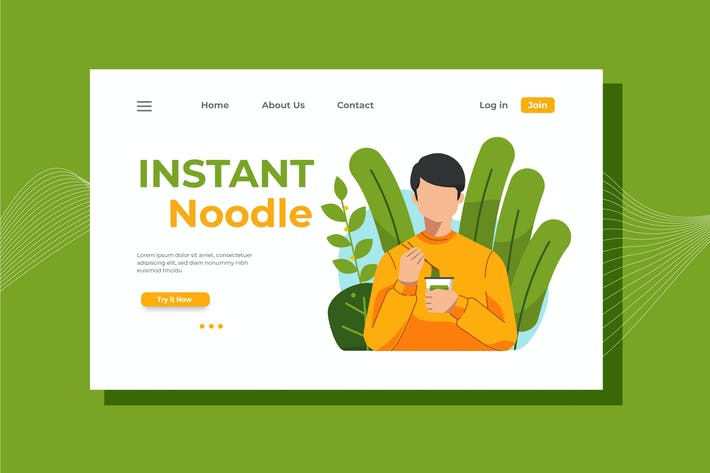 Thumbnail for Instant Noodle Landing Page Illustration