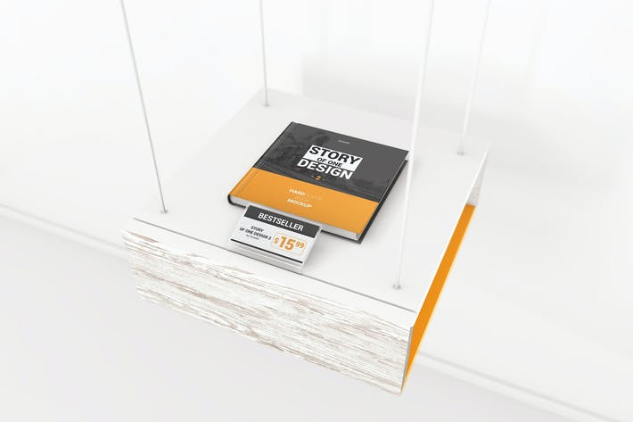 Cover Image For Hardcover Square Book With Price Tag Mockups