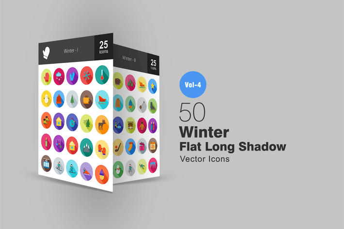 Thumbnail for 50 Winter Flat Shadowed Icons