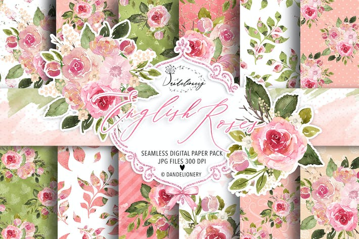 Thumbnail for Watercolor English Roses digital paper pack