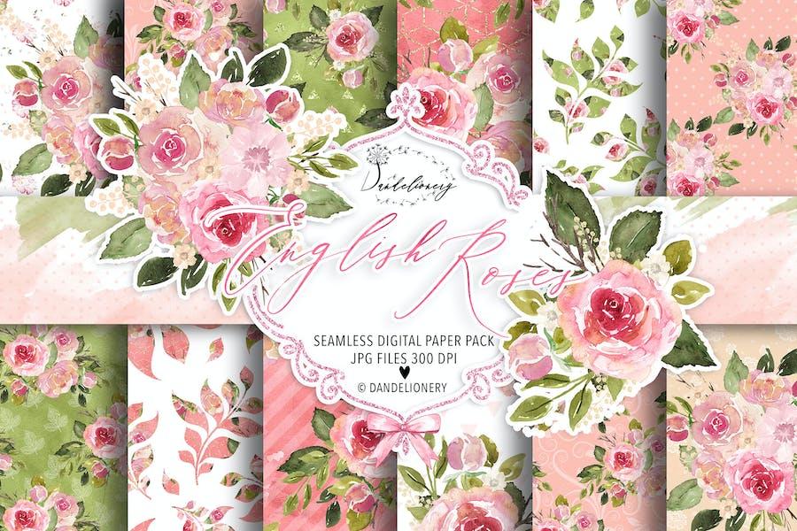 Watercolor English Roses digital paper pack