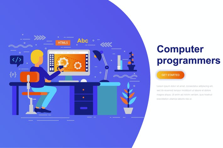 Thumbnail for Computer Programmers Modern Flat Concept